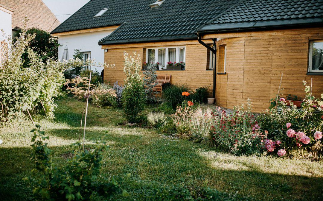 Fasáda domu svépomocí a zahrada v červnu